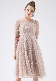 Dwell in Pearls Eyelet Organza Dress in Pink