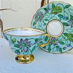 Vintage Rosina Bone China Turquoise Blue Floral Tea Cup and Saucer