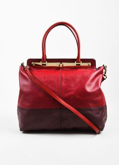 """Valentino Red and Burgundy Leather """"Claret"""" Colorblock Tote Bag"""