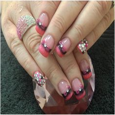 9 Best 3D Nail Art Designs :3D Nail art Using 3D Acrylic Bows and Rhinestones
