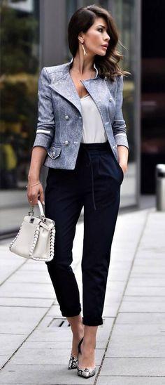amazing business style: jacket + bag + top + pants + heels