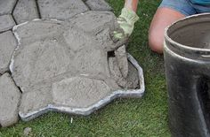 DIY Paved Patio - Cement in Mold