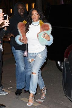Rihanna goes shopping in Paris on March 7, 2015