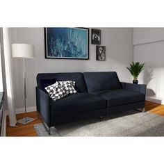 Give yourself comfortable and versatile seating with the modern style of the DHP Pembroke Convertible Futon . Bed Positions, Modern Futon, Futon Sofa Bed, Daybed, Types Of Sofas, Guest Bed, Guest Room, Small Living, Convertible