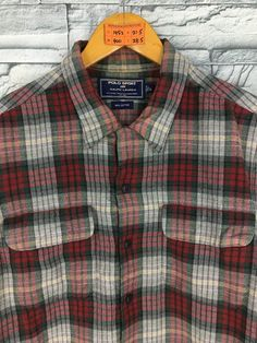 f5894a871 Vintage 90 s POLO SPORT Checkered Flannel Shirt Large Ralph Lauren Plaid  Checked Tartan Multicolor B