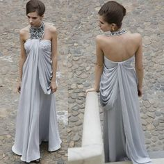 Magnificent Silver Gray Grey Halter Queen Long Formal Occasion Evening Gowns SKU-122082