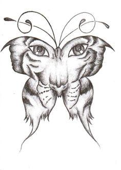 Tiger/Butterfly Henna Tattoo Sketch