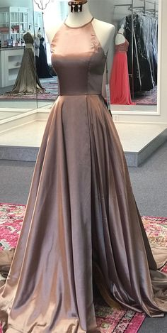 simple A-line champagne long prom dress, 2018 long prom dress with train, party dress