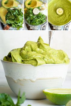 Avocado Sauce What's your favorite low carb dip? Each and every sauce has a special place in my heart, but this avocado sauce may just be the most versatile! Lime, sour cream, cilantro and avocados — need I say more? Avocado Dessert, Low Carb Recipes, Cooking Recipes, Healthy Recipes, Sour Cream, Diet Food To Lose Weight, Avocado Cream Sauces, Avacado Pasta Sauce, Vegan Pasta Sauce