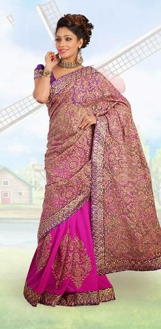 $116.16 Pink Faux Georgette Embroidered Wedding Saree 25731