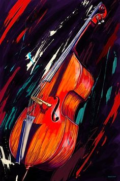 """""""Double Bass"""" (prints for sale) by Maxwell Dickson  http://www.houzz.com/photos/11989104/Maxwell-Dickson-Double-Bass-Music-Canvas-Artwork-Wall-Art-Print-modern-prints-and-posters"""
