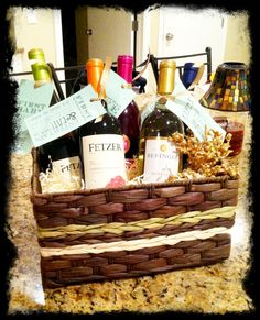 I love this!! Milestone Wine Basket. Bridal Shower- Give a basket ...