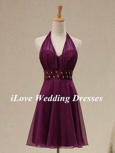 2014 New Classical V-neck Halter Empire Ruffle With Beaded Sash Knee-length Dresses Prom Dress Wedding Bridemaid Dress Homecoming Dress