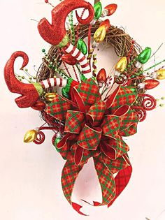 CHRISTMAS Wreath Small Elf Legs Ribbon wreath by DecoExchange