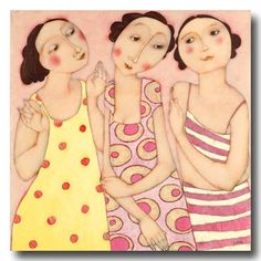 Cecile Veilhan and Her Women Sisters Art, Three Sisters, Three Daughters, Art Carte, People Art, Whimsical Art, Figure Painting, Belle Photo, Figurative Art
