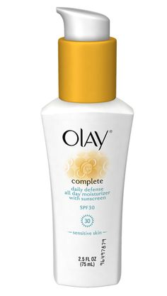 The 10 Best Drugstore Moisturizers With SPF: FOR SENSITIVE SKIN: Unlike many sunscreen-packed formulas, Olay Complete Daily Defense All Day Moisturizer with Sunscreen SPF 30 ($12.99) won't mess with sensitive skin. In fact, vitamin E, aloe, and green tea extract help soothe it.