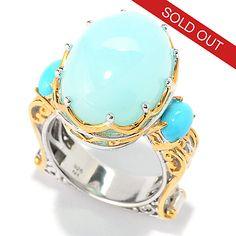 149-527 - Gems en Vogue 18 x 13mm Peruvian Opal & Sleeping Beauty Turquoise Ring