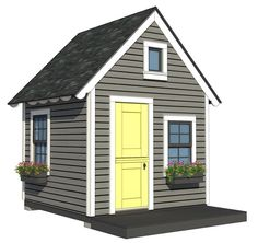 Building an outdoor kid's playhouse can be fun with this adorable playhouse plan. It even has a loft! Kids Playhouse Plans, Outside Playhouse, Backyard Playhouse, Build A Playhouse, Playhouse Kits, Simple Playhouse, Backyard Sheds, Playhouse Interior, Outdoor Playhouses