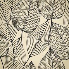 motifs graphiques arbres: Automne beige seamless stylisé feuille Seamless texture modèle décoratif avec des feuilles