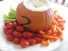 Serve veggie dip in a pumpkin for a fall party... so fun!