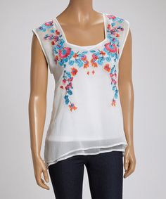 Look what I found on #zulily! Ivory & Blue Floral Embroidered Swing Top by LOVE STITCH #zulilyfinds