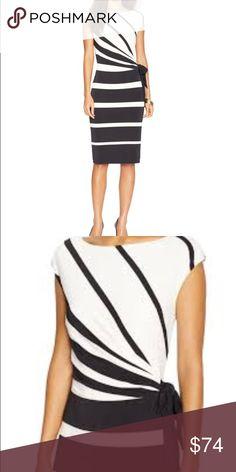 Ralph Lauren Striped Dress Ralph Lauren  Stripe Dress  New with tags $144 Size 16  Faux Belted  Lined  Boat neck  Polyester/Elastane  Black & Cream  Stretch for days Lauren Ralph Lauren Dresses