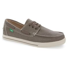 Men's Sanuk 'The Sea Man' Boat Shoe ($60) ❤ liked on Polyvore featuring men's fashion, men's shoes, men's loafers, brown canvas, sperry top sider mens shoes, mens canvas shoes, mens shoes, mens beach shoes and mens topsiders