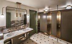 Wow Your Customers with a Gorgeous Bathroom- The bathrooms are a very important part of your or venue space, and customers definitely take notice of a gorgeous restroom space. This art deco inspired design is the perfect addition to a modern space. Restaurant Bad, Restaurant Bathroom, Restaurant Design, Smith Restaurant, Commercial Toilet, Commercial Design, Commercial Interiors, Bad Inspiration, Bathroom Inspiration