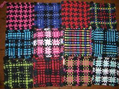 potholders made from socks. Could work with t shirt strips? braided perhaps. Make a loom out of nails and wood?