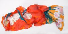 Hand painted orange scarf with floral motives. Tulips silk scarf. Handpainted shawl. Bright summer scarf. Large floral scarf. Silk painting by Klara Spring celebration. Spring garden scarf, Luxury silk scarf handpainted measurements is 17 by 70 inches i used only high quality french silk