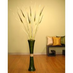 27-inch Forest Green Bamboo Trumpet Vase with Floral