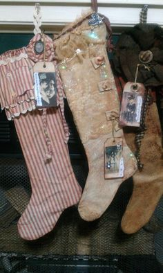 """Second Time Around Design, """"The Stockings Were Hung"""", Primitive Stocking Pattern, PDF ONLY on Etsy, $5.00"""