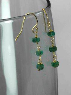 FREE SHIPPING Emerald earrings May birthstone by julwelry on Etsy, $39.00