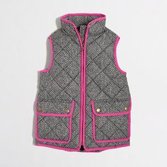 J.Crew herringbone vest BUT WITH PINK PIPING omg! So cute
