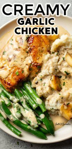 Creamy Garlic Chicken, Garlic Sauce For Chicken, Chicken Sauce Recipes, Chicken Recipes For Two, Garlic Recipes, Chicken Breast Recipe For Two, Easy Recipes For Two, Creamy Chicken Breast Recipes, Easy Chicken Breast Dinner