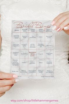 Items similar to Fun Bridal Shower Game For A Large Group: Bridal Bingo Printable Game With 50 Shower Game Cards With Gold Text On A Marble Background on Etsy Wedding Bingo, Bridal Shower Bingo, Bridal Bingo, Wedding Shower Games, Calling Cards, Card Games, Game Cards, Printable, Shower Ideas