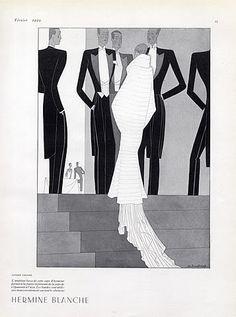 Lucien Lelong 1929 Evening Fur Cape, Fashion Illustration M.Bouchaud