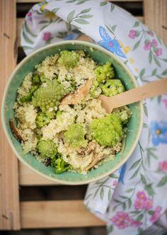 Couscous de cogumelos e brócolos romanescos... Recuperar legumes quase esquecidos e utilizá-los na cozinha do dia-a-dia é a proposta desta receita