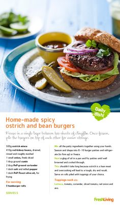 Why not try different types of meat in your burgers this summer? Chilli and beans go together, add them to ostrich burgers for a tasty summer meal for your Big Summer DO guests. Frugal Meals, Budget Meals, Ostrich Meat, Burger Night, Easy Budget, Bean Burger, Cooking Recipes, Healthy Recipes, Recipe Search