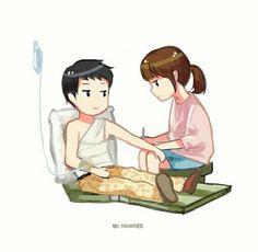 Descendants Of The Sun Cute Couple Cartoon, Anime Love Couple, Songsong Couple, Cartoon Art, Cartoon Characters, Webtoon Korean, Goblin, Descendants Of The Sun Wallpaper, K Pop