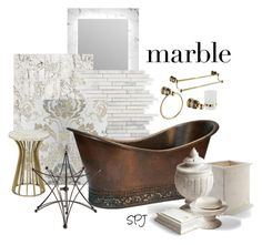 """""""Marble with Copper Bath"""" by s-p-j ❤ liked on Polyvore featuring interior, interiors, interior design, home, home decor, interior decorating, Ren-Wil, NLXL, Premier Copper Products and Grandin Road"""