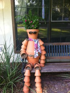 Flower Pot People Patterns | Clay pot people -Clarice Clay greets people as they arrive to our ...