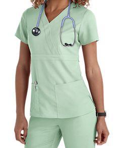 a9196b296f Grey s Anatomy 3 Pocket Mock Wrap Scrub Tops