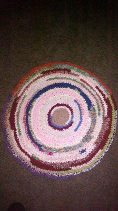 """crochet 30"""" various colors rag rug"""