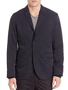 Vince Nylon Twill Performance Jacket - Black - Size