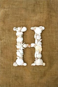We can collect shells at the beach, and then glue them to a big M. Sea Shell letter-do this with your shells! Seashell Crafts, Beach Crafts, Fun Crafts, Arts And Crafts, Seashell Art, Wedding Initials, Monogram Letters, Wooden Letters, Beach Themes