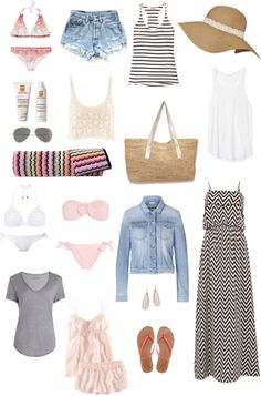 """""""what to pack inspiration"""" beach vacation Cruise Outfits, Vacation Outfits, Mode Outfits, Summer Outfits, Travel Wardrobe, Capsule Wardrobe, Vacation Style, Travel Style, Vacation Packing"""