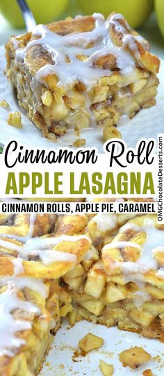 This Caramel Apple Cinnamon Roll Lasagna is like layered apple pie. Instead of a classic pie crust I used cinnamon rolls and got delicious apple pie layered treat. # This Caramel Apple Cinnamon Roll Lasagna Apple Desserts, Köstliche Desserts, Apple Recipes, Chocolate Desserts, Sweet Recipes, Delicious Desserts, Cake Recipes, Dessert Recipes, Plated Desserts