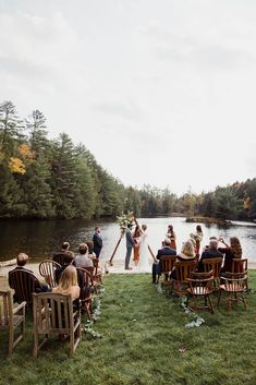 Small outdoor wedding on lake beach during the fall in the Adirondacks in Upstate New York. New York wedding packages. Upstate NY elopement packages. Adirondacks Ny, Adirondack Park, Lake Beach, Lakeside Wedding, Upstate New York, Elopement Ideas, Lake George, Outdoor Weddings, New York Wedding