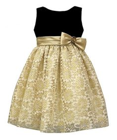 Look at this #zulilyfind! Black & Gold Lace-Overlay A-Line Dress - Girls #zulilyfinds